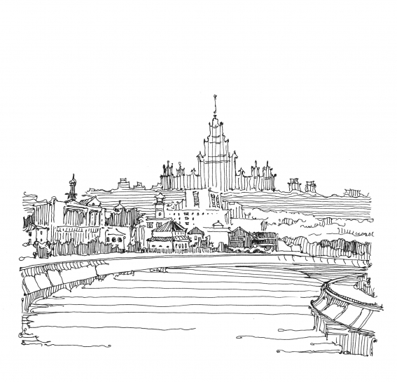 рисунок в москве реке находится городе